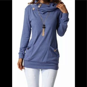 NWT Levaca LongSleeve ButtonCowl Neck TunicTops